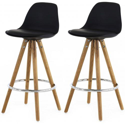 3S. x Home - Lot de 2 Tabourets de Bar Scandinaves Noir UMA - Scandinave