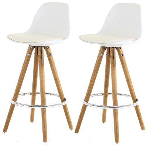3S. x Home - Lot de 2 Tabourets de Bar Scandinave Blanc UMA - Tabouret de bar