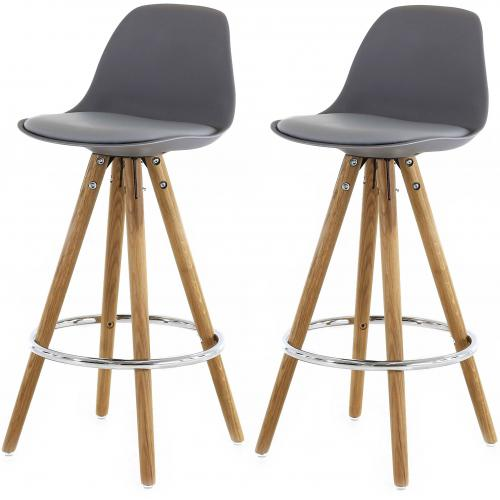 3S. x Home - Lot de 2 Tabourets de Bar Scandinave Gris UMA - Scandinave