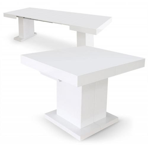 3S. x Home - Table Extensible Blanc Laqué 90x100 à 90x250 CHILL - Table