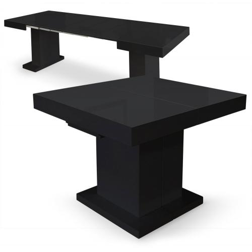 3S. x Home - Table Extensible Noir Laqué 90x100 à 90x250 CHILL - Table