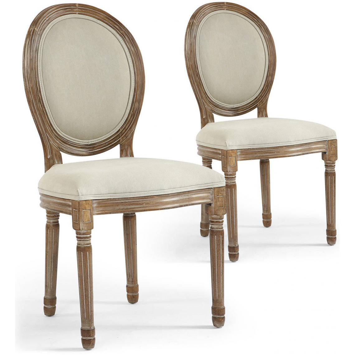 lot de 2 chaises m daillon tissu marron et beige versailles 3suisses. Black Bedroom Furniture Sets. Home Design Ideas
