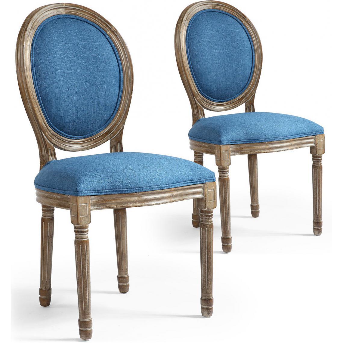Lot de 2 Chaises Médaillon Tissu Marron et Bleu VERSAILLES ...