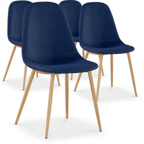 3S. x Home - Lot de 4 Chaises Scandinaves Bleues HAMAR - Chaise