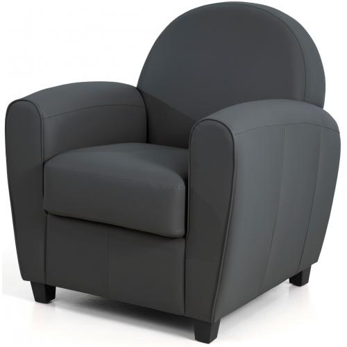 3S. x Home - Fauteuil Club Gris Anthracite LIBBY - Fauteuil