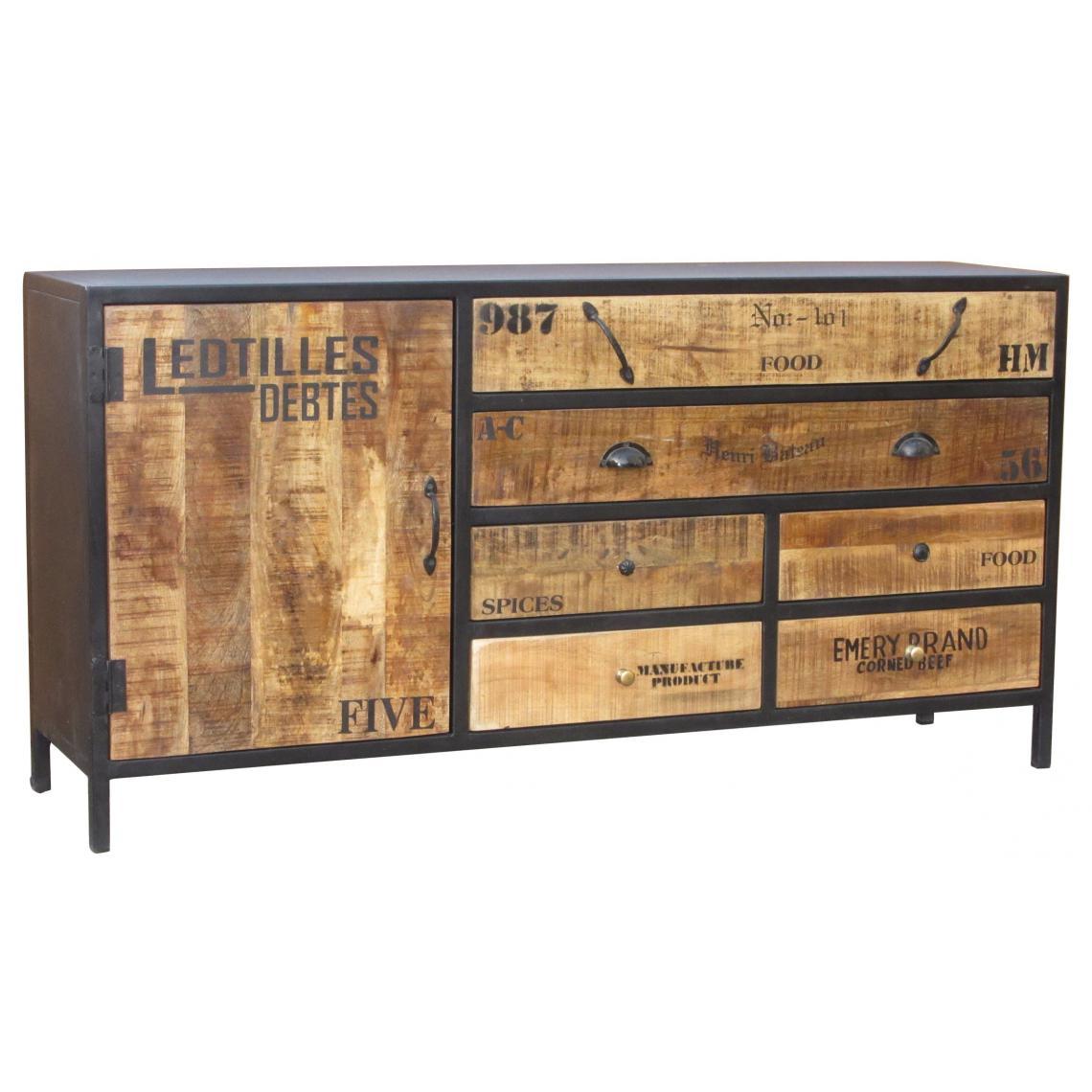 Commode Chambre Style Industriel commode en bois et en métal l160 cesarine plus de détails