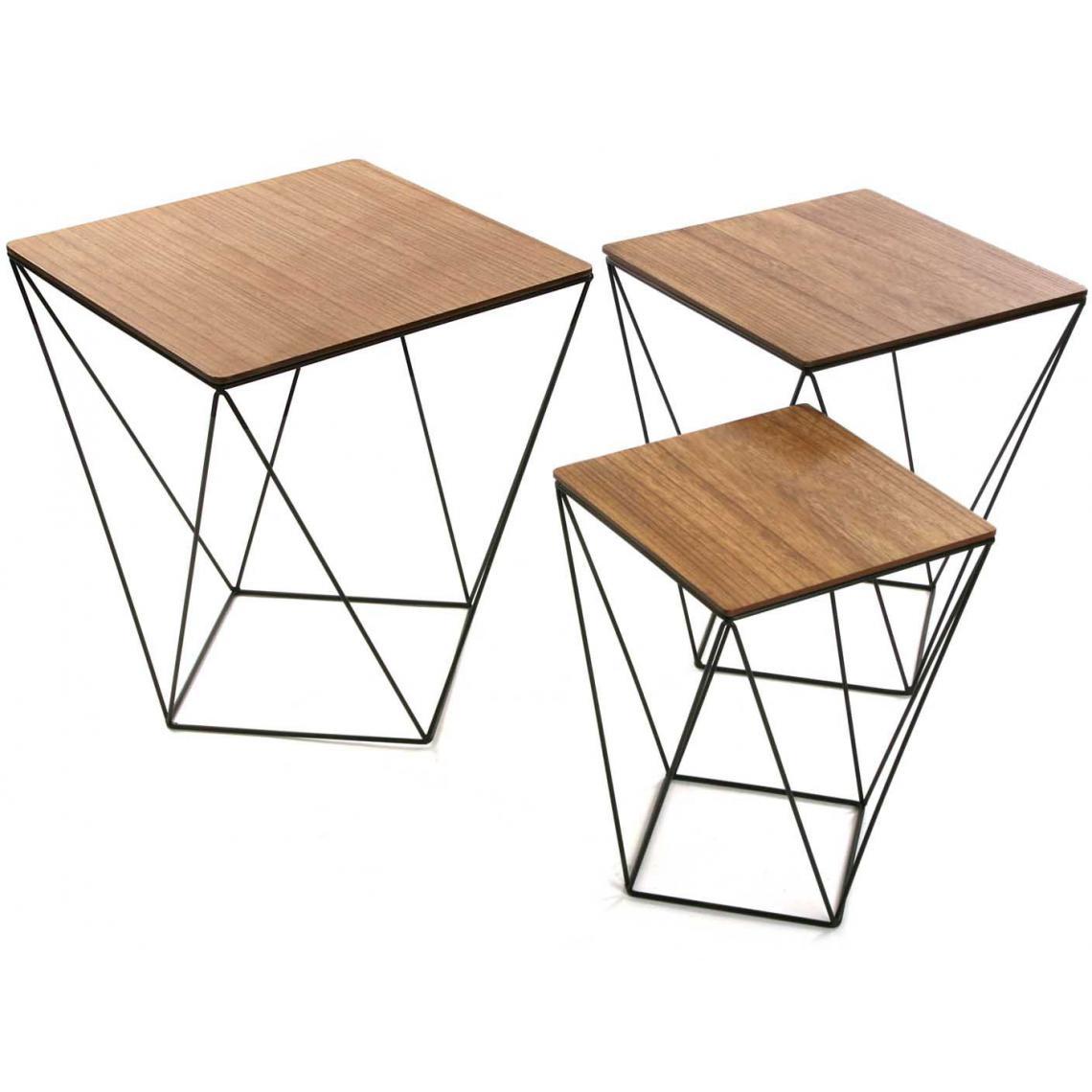 Set De 3 Tables Gigognes Filaires Carrées En Bois Et Métal  CORONILLE