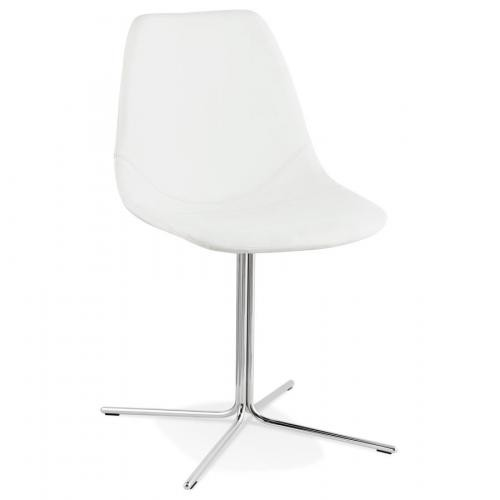 3S. x Home - Chaise avec Coque En simili Blanc COSSART - Chaise