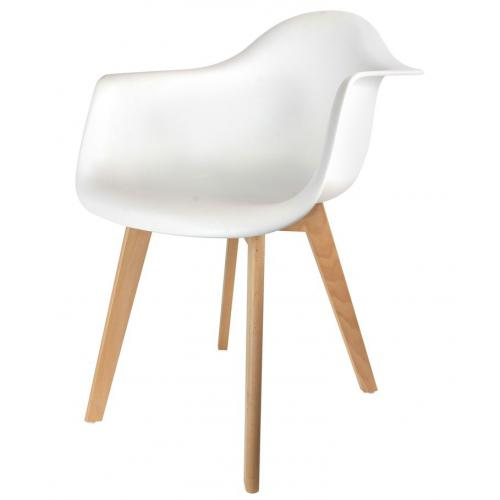 3S. x Home - Chaise Enfant Scandinave Blanc Avec Accoudoirs BABY ORKNEY - Scandinave