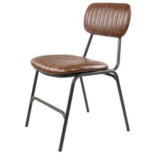 3S. x Home - Chaise Industrielle Marron FERAY - Chaise, tabouret, banc