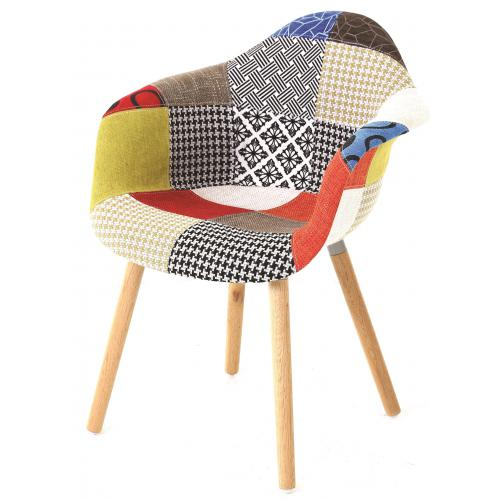 3S. x Home - Chaise Scandinave avec Accoudoirs Patchwork JORD - Chaise