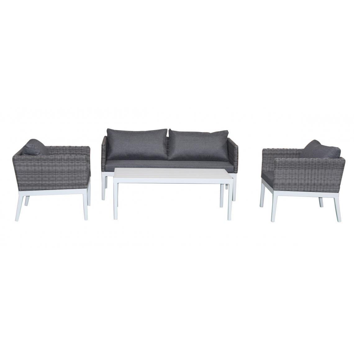 Salon de Jardin en Aluminium Et Résine Tressée Gris LOLA | 3 ...