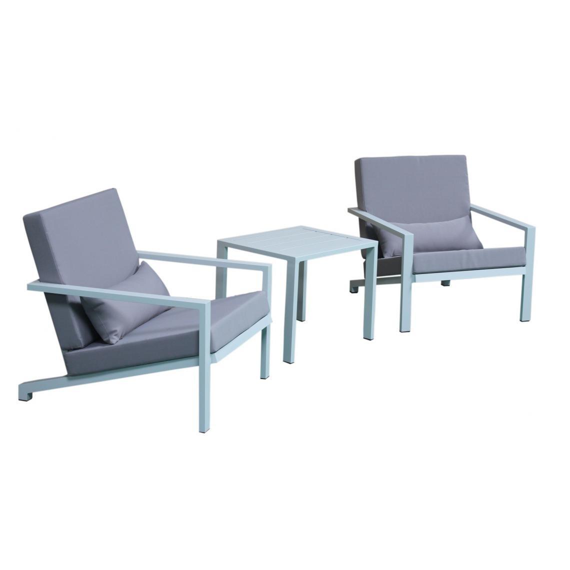 Salon de Jardin En Aluminium Blanc et Gris LINA   3 SUISSES