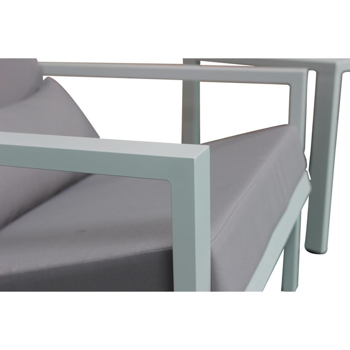 Salon de Jardin En Aluminium Blanc et Gris LINA | 3 SUISSES