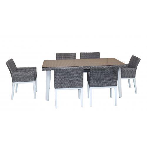 3S. x Home - Table Repas Outdoor + 6 Fauteuils en Résine et Aluminium ADELA - Ensemble table, chaise
