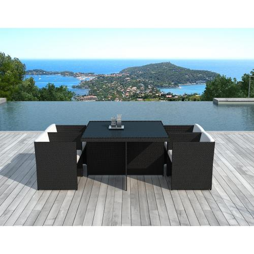 3S. x Home - Table Repas Outdoor + 4 Fauteuils En Résine Tressée Marron ZAYA - Ensemble table, chaise