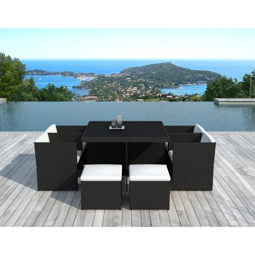 3S. x Home - Table Repas Outdoor + 4 Fauteuils + 4 Poufs En Résine Tressée Marron ZAYA - Ensemble table, chaise