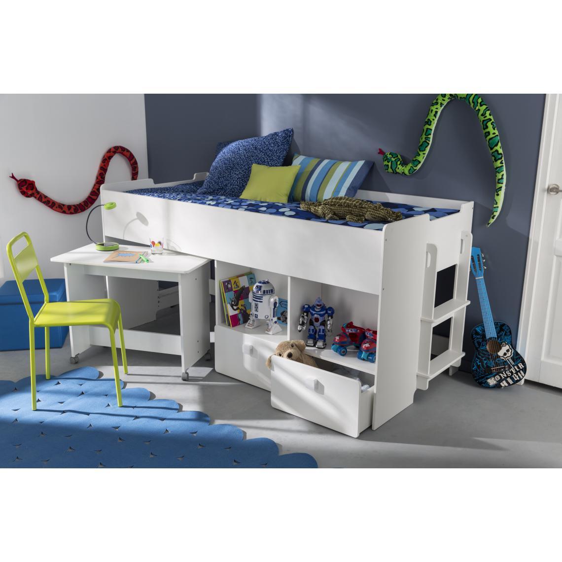 Chambre Adulte Avec Bureau lit combiné pour enfant 90x200cm avec bureau et rangement blanc alto plus  de détails