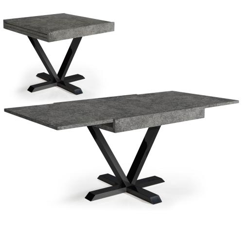 3S. x Home - Table Basse Design Rétractable Effet Béton Gris WELL - Table basse
