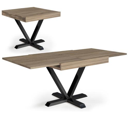 3S. x Home - Table Basse Design Rétractable Effet Chêne Clair WELL - Table basse