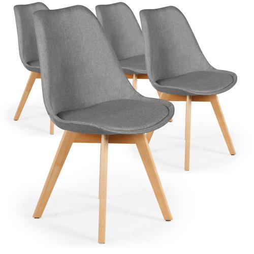 3S. x Home - Lot De 4 Chaises Scandinaves En Tissu Gris ESBEN - Chaise, tabouret, banc