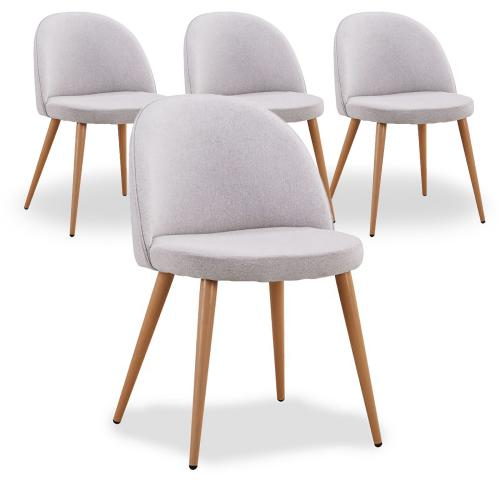 3S. x Home - Lot De 4 Chaises Scandinaves En Tissu Gris MELCHIOR - Chaise