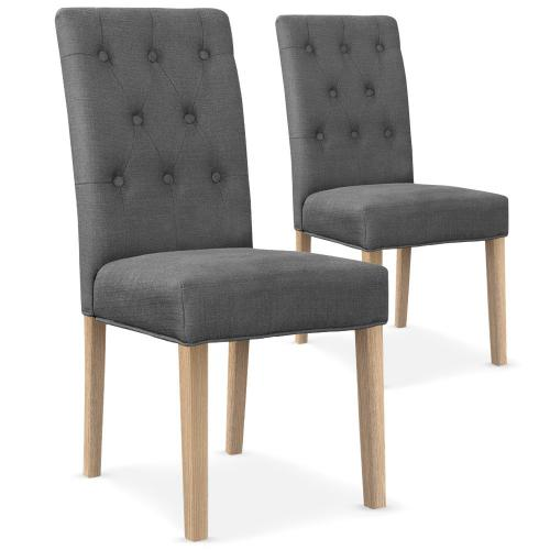 3S. x Home - Lot De 2 Chaises Design En Tissu Gris COSTA - Chaise