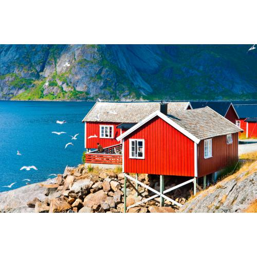 3S. x Home - Tableau Scandinave Noway Red Houses 80x55 - La déco
