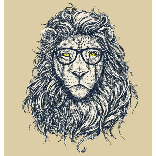 3S. x Home - Tableau Animal Hipster Lion Hipster 50x50 - La déco