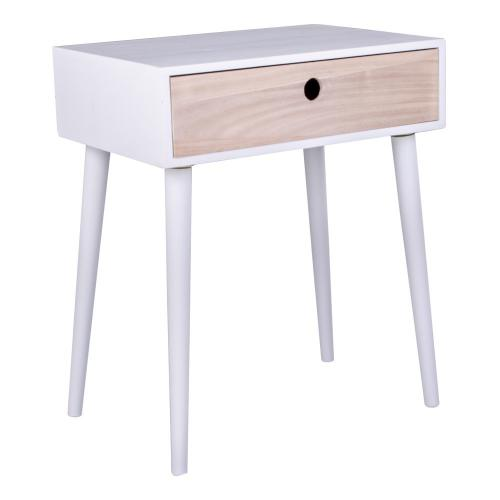 House Nordic - Table De Chevet Scandinave Blanche PARMA - Table de chevet