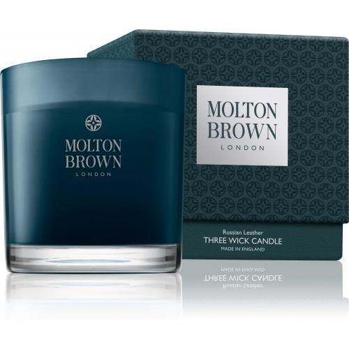 Molton Brown - Bougie 3 Mèches Russian Leather - 480g - Beauté