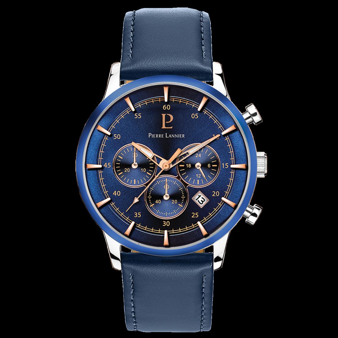 Montre 224G166 - Montre Chronographe Cuir Bleue Montres - Pierre Lannier - Modalova