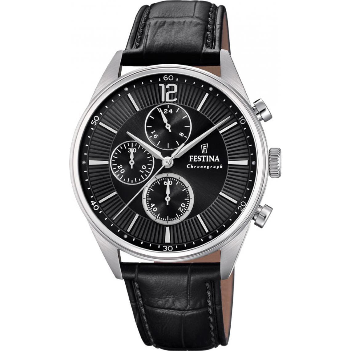 Montre Timeless Chrono F20286-4 - Montre Chronographe Cuir noir Montres - Festina - Modalova