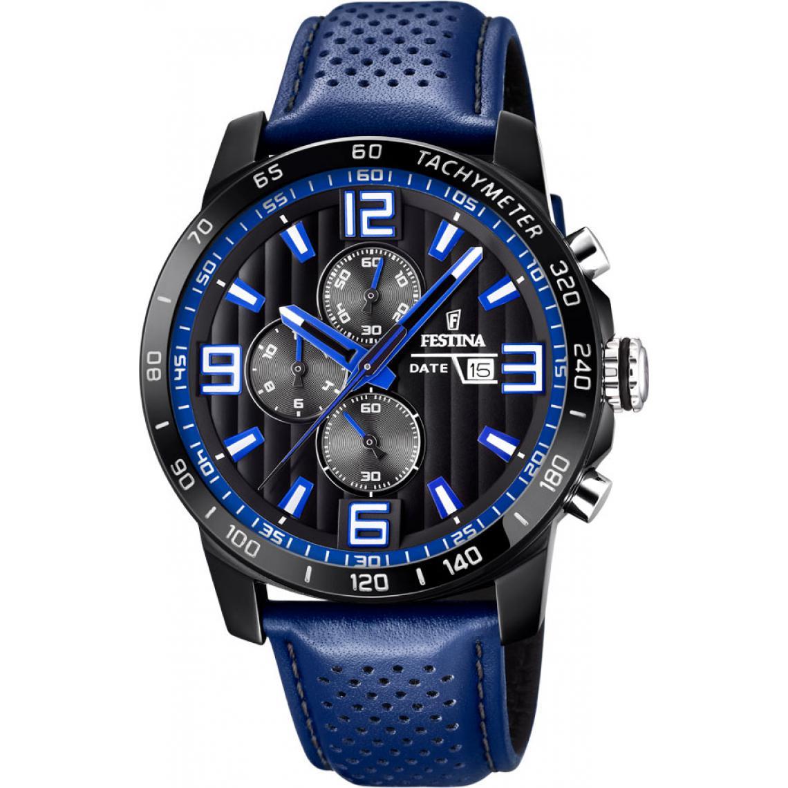 Promo : Montre Originals F20339-4 - Montre Chronographe Cuir Bleu Montres - Festina - Modalova
