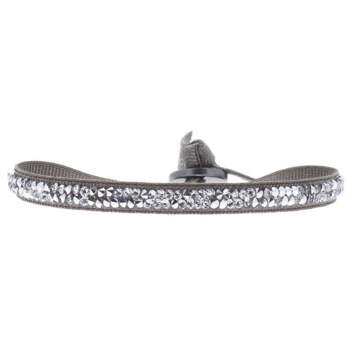 Bracelet Les Interchangeables A24930 - Bracelet Tissu Marron Cristaux Swarovski Les Interchangeables