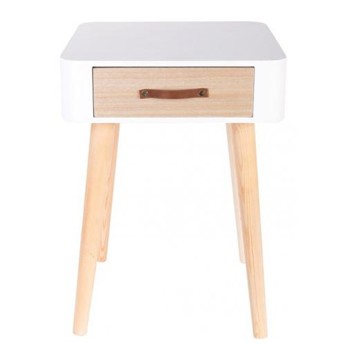 3S. x Home - Table De Chevet Blanche En Bois RITA - Table de chevet