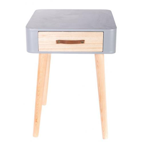 3S. x Home - Table De Chevet Grise En Bois RITA - Chambre adulte