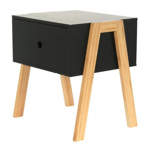 3S. x Home - Table de Chevet Empilable Noir ICHIGO - Table de chevet