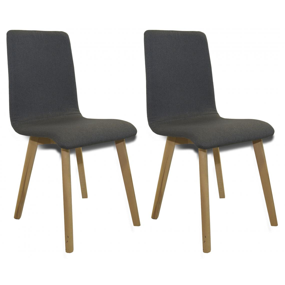lot de 2 chaises scandinaves grises fonc auda 3suisses. Black Bedroom Furniture Sets. Home Design Ideas