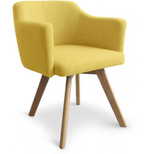 3S. x Home - Fauteuil Scandinave Tissu Jaune LAYAL - Fauteuil