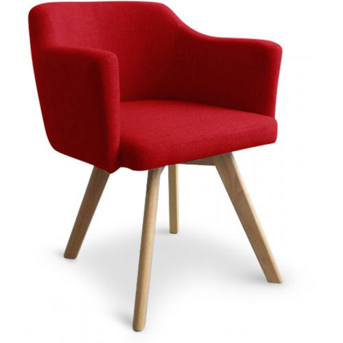 3S. x Home - Fauteuil Scandinave Rouge LAYAL - Fauteuil