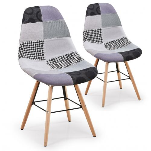 3S. x Home - Lot De 2 Chaises Scandinaves Patchwork Gris OVIDE - Chaise