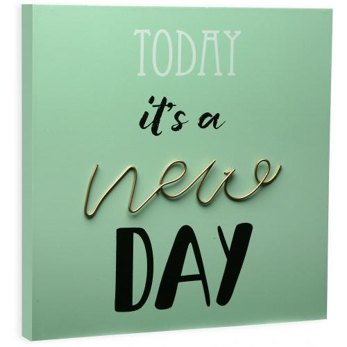 "3 SUISSES - Tableau ""Today It's A New Day"" Vert RECENICA - Objets déco"