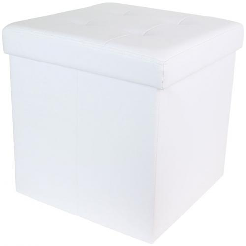 3S. x Home - Coffre Pouf Pliable Blanc Impression Cuir EASY - Pouf