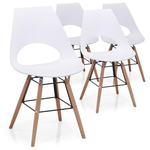 3S. x Home - Lot De 4 Chaises Blanches DAN - Chaise, tabouret, banc