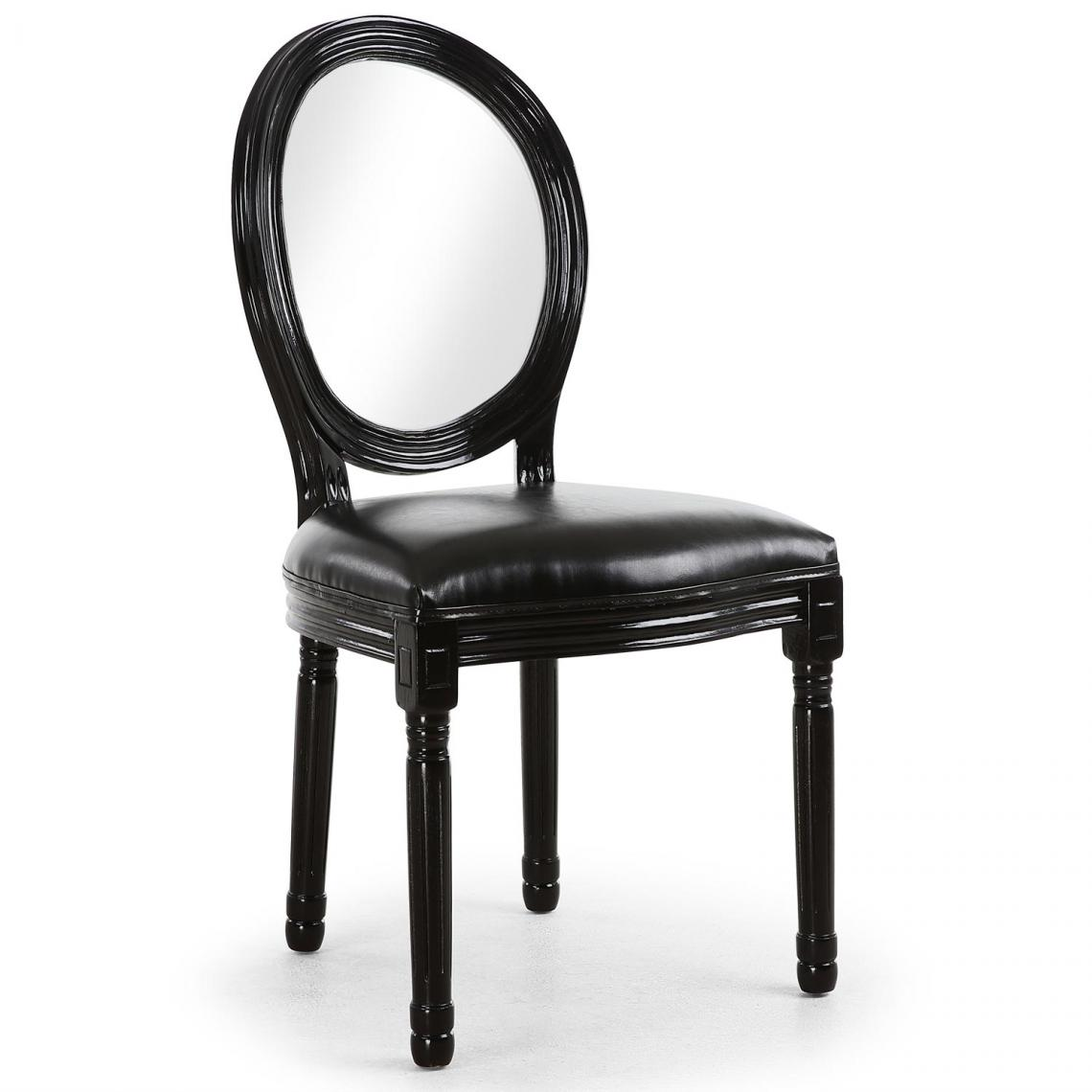 Lot De 2 Chaises Médaillon Transparent Noir LOUISA JPjWl