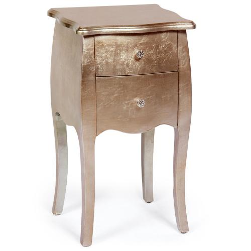 3S. x Home - Table de Chevet Bois Laqué Or Rose GETAFE - Table de chevet