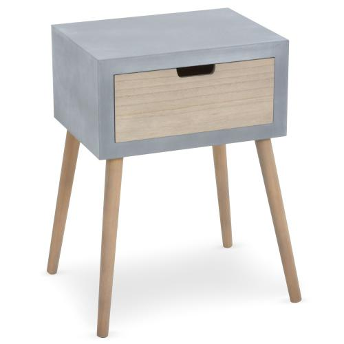 3S. x Home - Table De Chevet Grise et Bois 1 Tiroir VERAH - Table de chevet