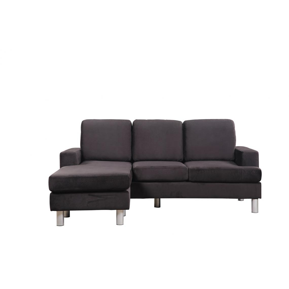 Canapé d'Angle Modulable Microfibre Noir CODEX VpUSC