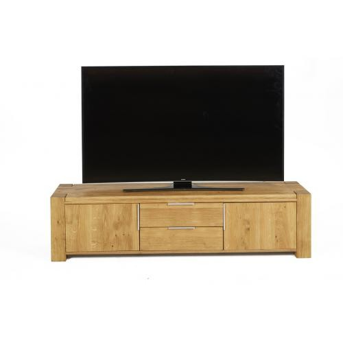 3S. x Home - Meuble TV Bois 2 Portes 2 Tiroirs LEGNA - Table basse